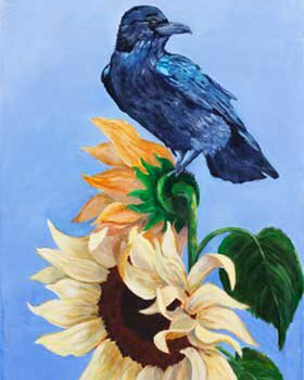 1st Place - Sunflower Crow by Lori Anderson