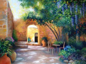 Sunlit Patio, Luca Italy by Barbara Davies
